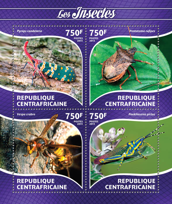 Insects - Issue of Central African republic postage stamps