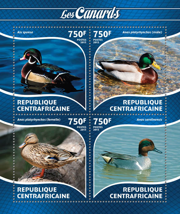 Ducks - Issue of Central African republic postage stamps