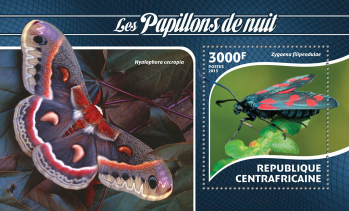 Moths - Issue of Central African republic postage stamps