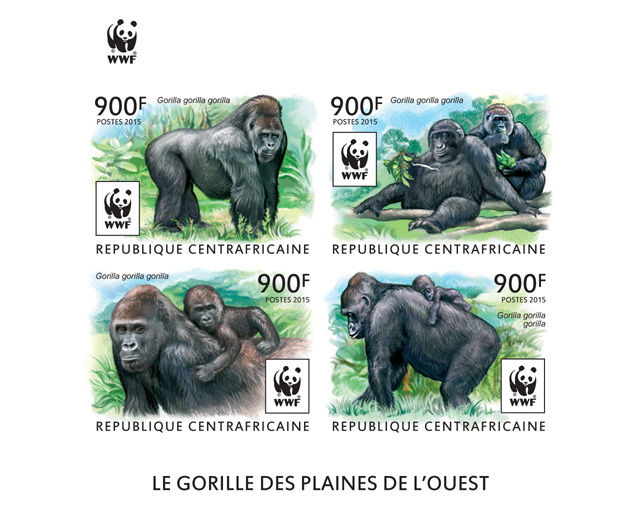 WWF – Gorilla (imperf. Set) - Issue of Central African republic postage stamps