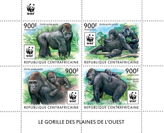 WWF – Gorilla (set) - Issue of Central African republic postage stamps