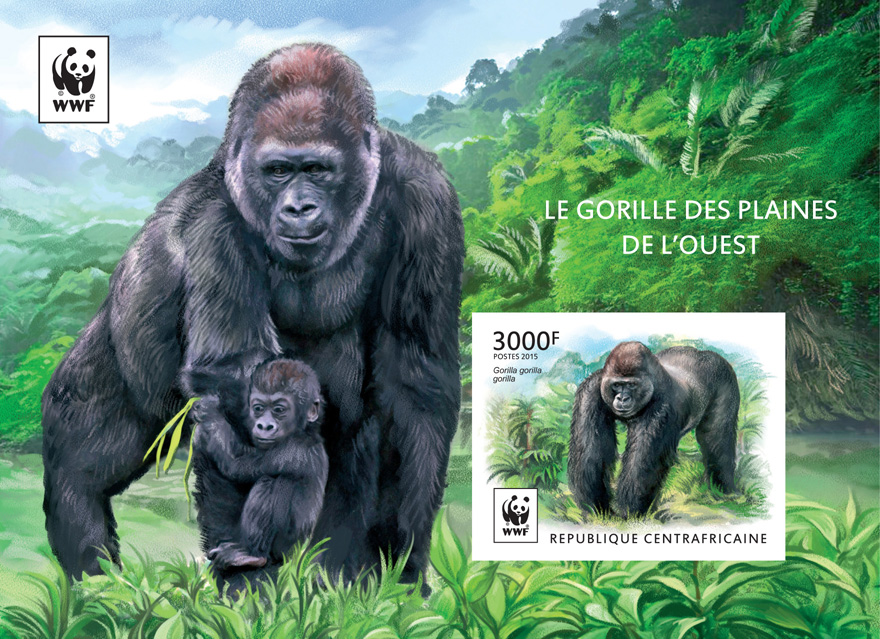 WWF – Gorilla (imperf. souvenir sheet) - Issue of Central African republic postage stamps