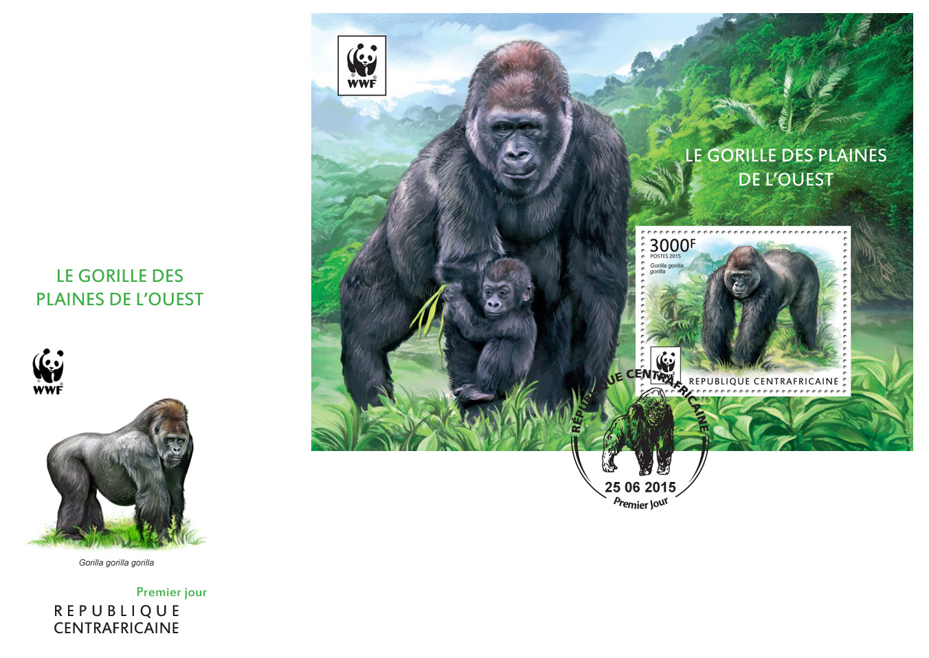 WWF – Gorilla (FDC) - Issue of Central African republic postage stamps