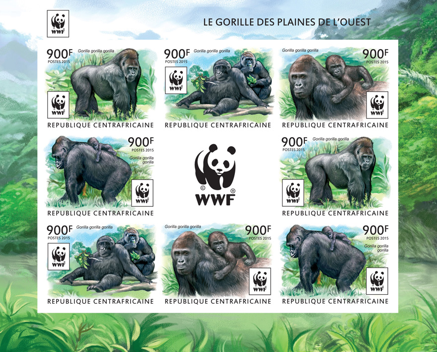 WWF – Gorilla (imperf. 2 sets) - Issue of Central African republic postage stamps