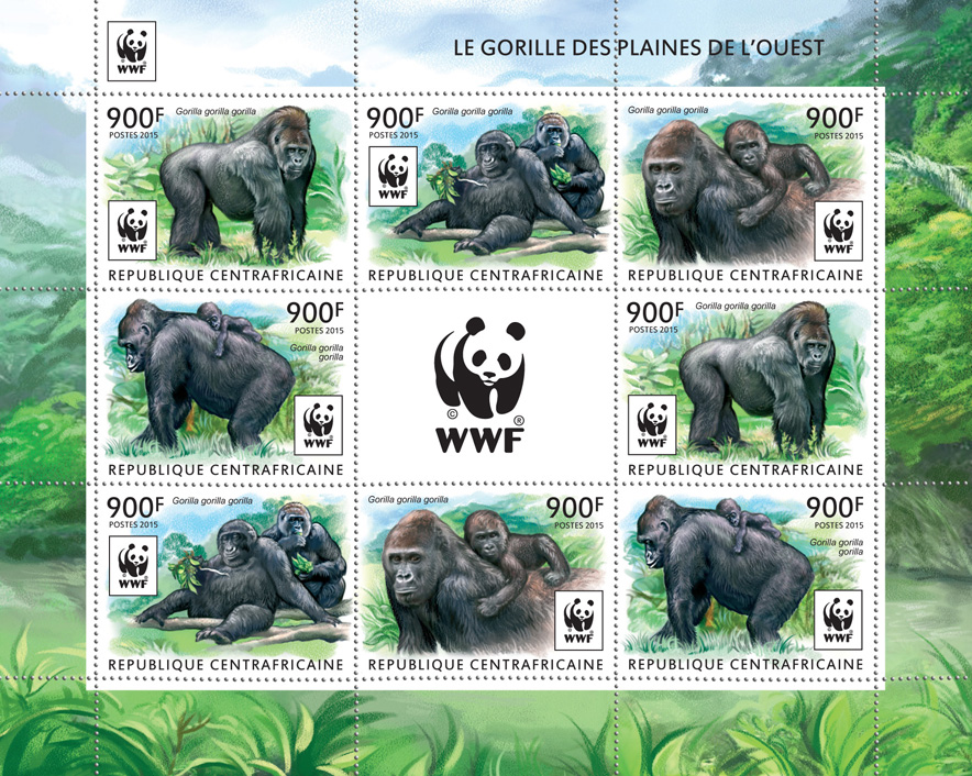 WWF – Gorilla (2 sets) - Issue of Central African republic postage stamps