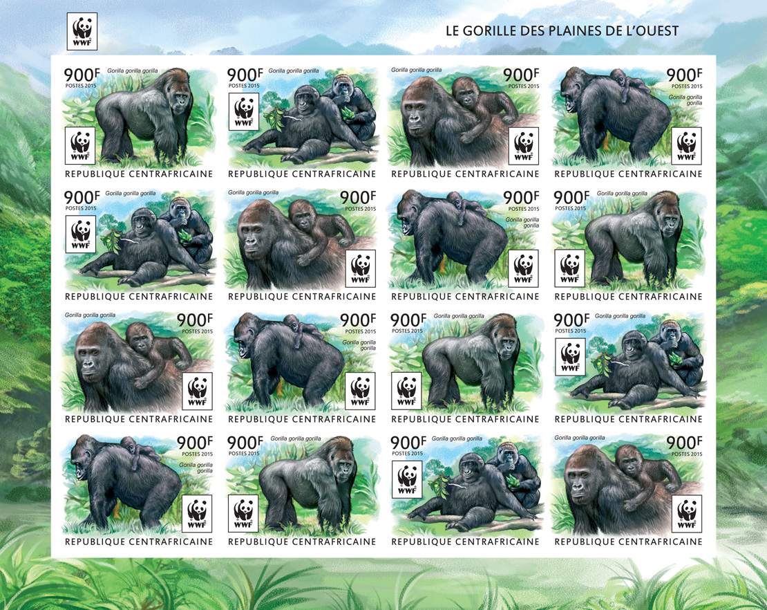 WWF – Gorilla (imperf. 4 sets) - Issue of Central African republic postage stamps