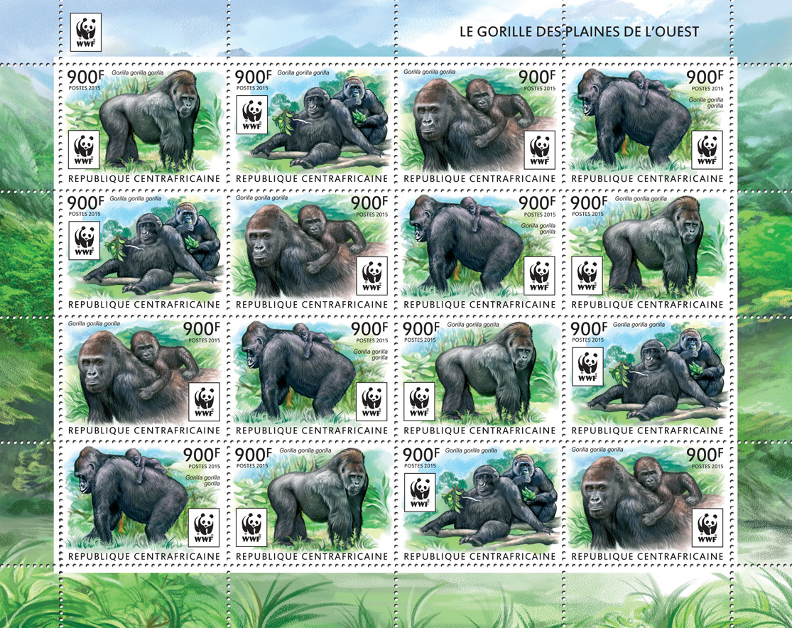 WWF – Gorilla (4 sets) - Issue of Central African republic postage stamps