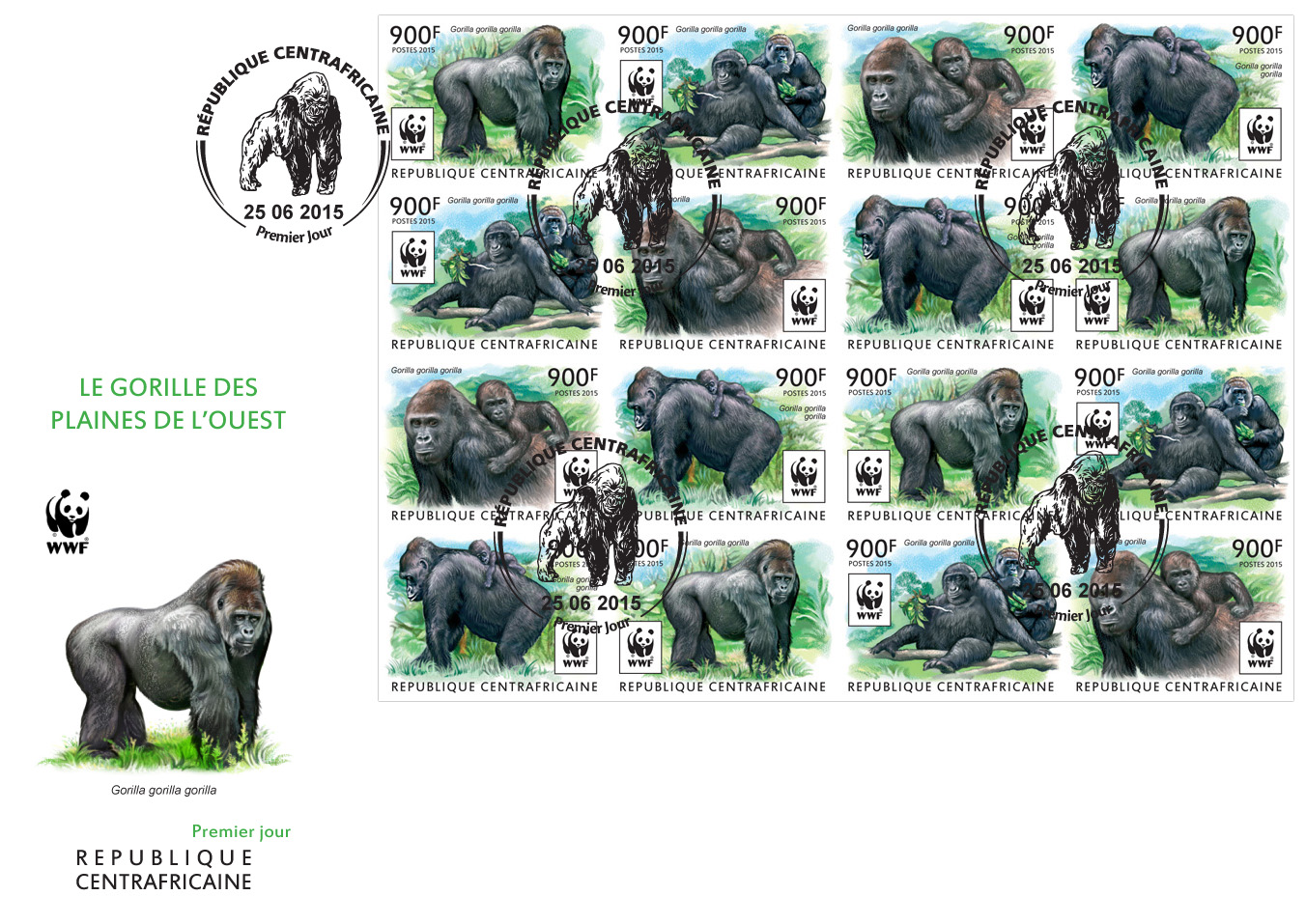 WWF – Gorilla (FDC imperf.) - Issue of Central African republic postage stamps