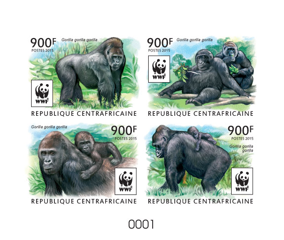 WWF – Gorilla (delux) - Issue of Central African republic postage stamps