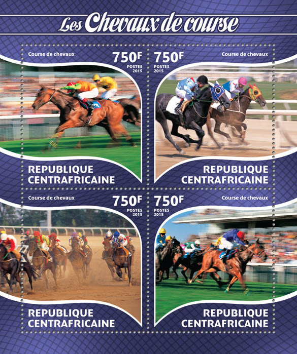 Race horses  - Issue of Central African republic postage stamps