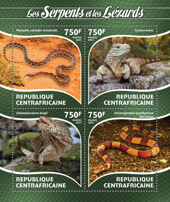 Snakes and lizards - Issue of Central African republic postage stamps