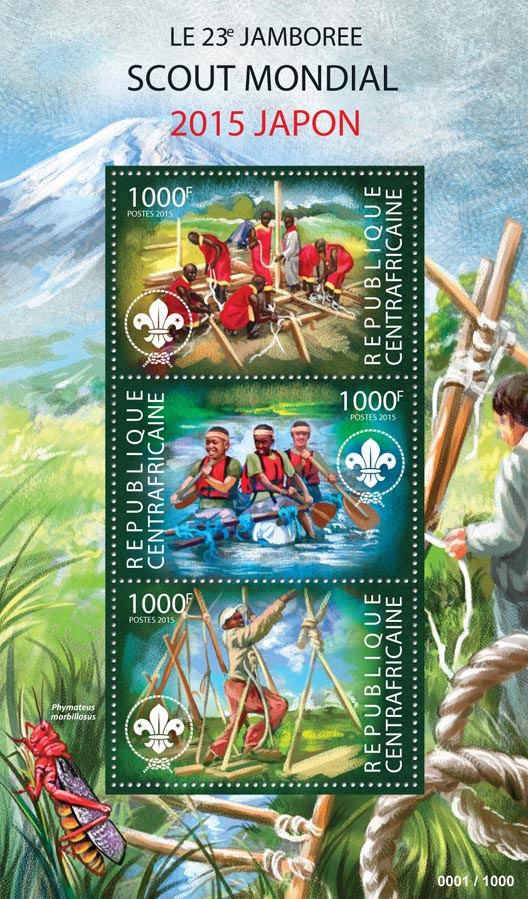 Scout - Issue of Central African republic postage stamps