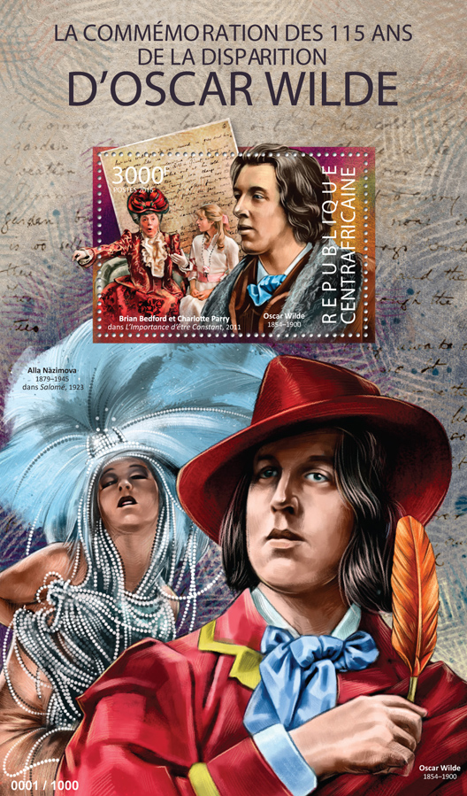 Oscar Wilde - Issue of Central African republic postage stamps