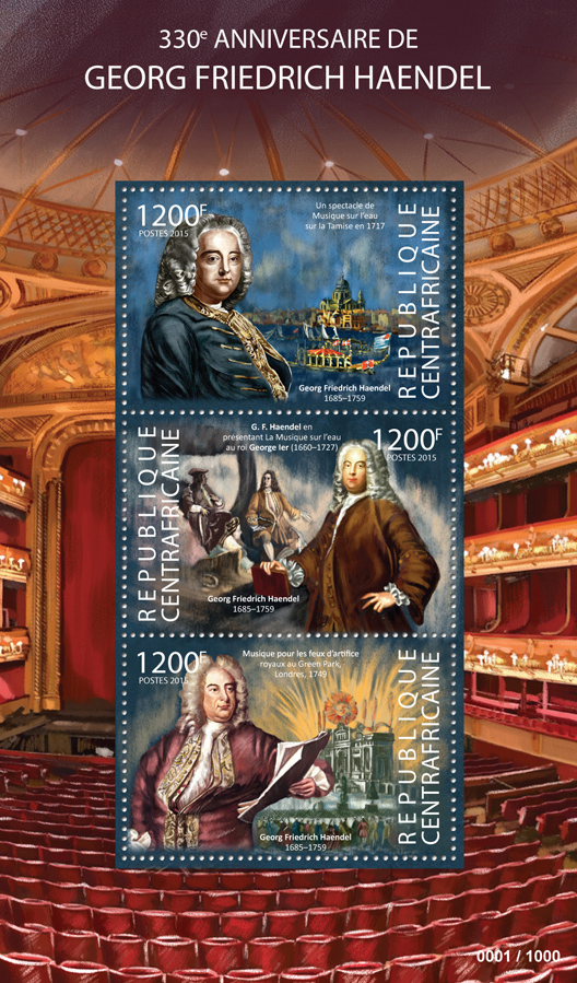 George Frederic Handel - Issue of Central African republic postage stamps