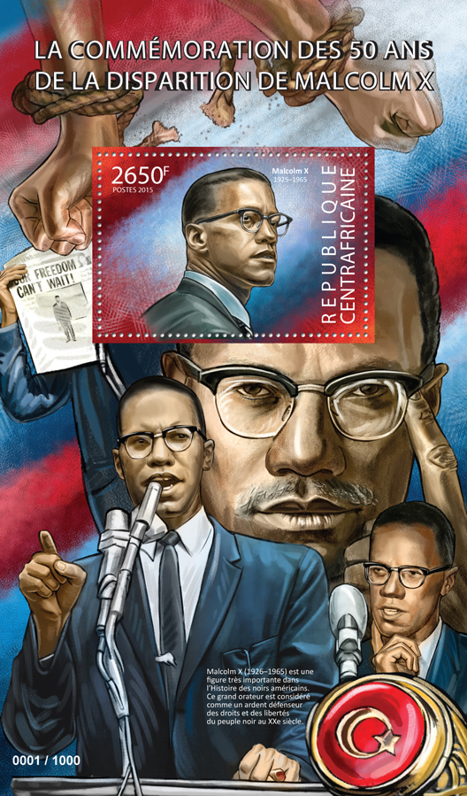 Malcolm X - Issue of Central African republic postage stamps