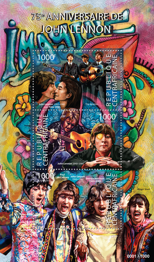 John Lennon - Issue of Central African republic postage stamps