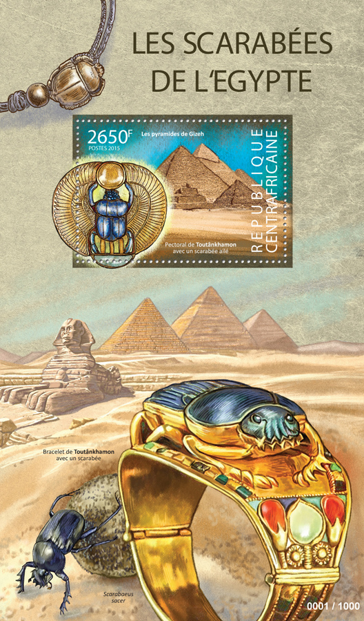 Scarabs from Egypt - Issue of Central African republic postage stamps