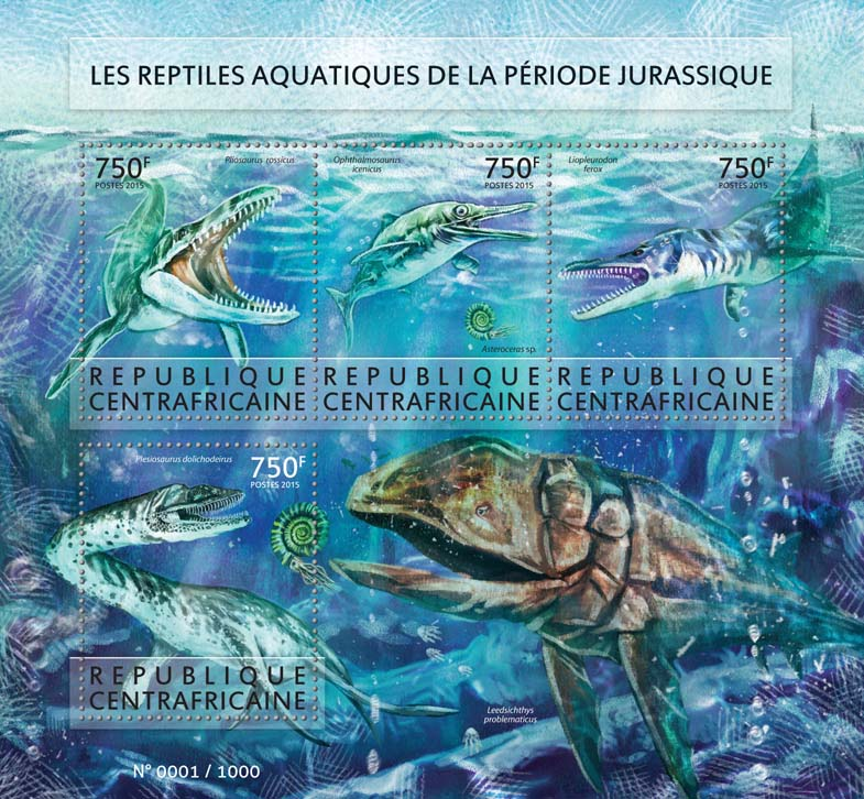 Prehistoric water animals - Issue of Central African republic postage stamps