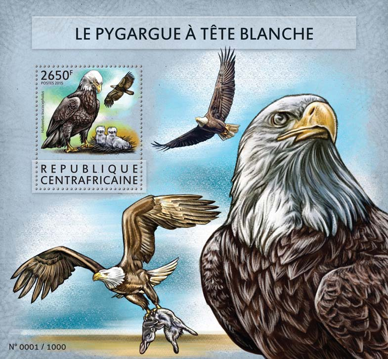 Eagle - Issue of Central African republic postage stamps