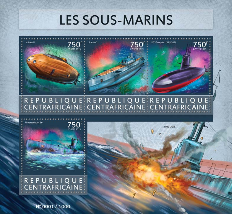 Submarines - Issue of Central African republic postage stamps