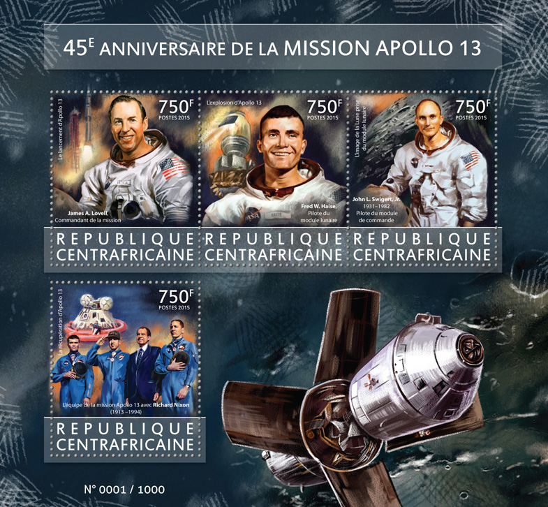Apollo 13 - Issue of Central African republic postage stamps