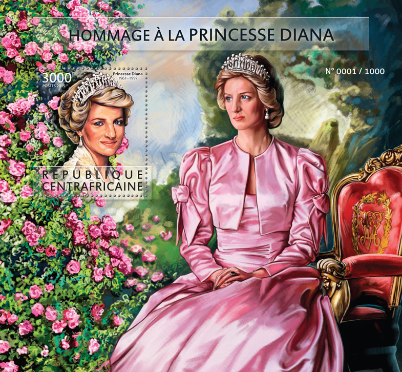 Princess Diana - Issue of Central African republic postage stamps
