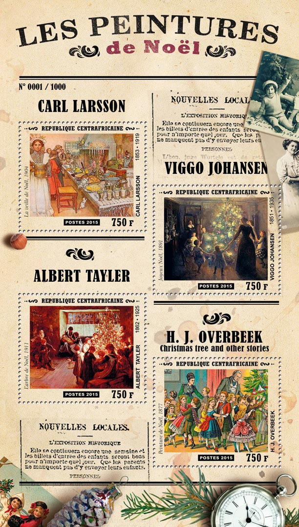 Christmas paintings - Issue of Central African republic postage stamps