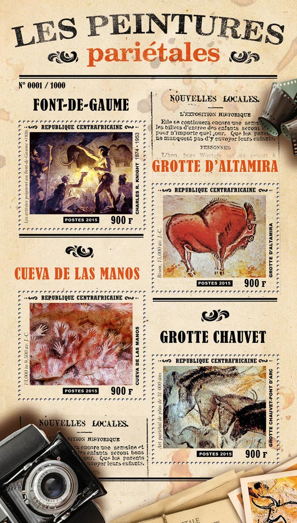 Cave paintings - Issue of Central African republic postage stamps