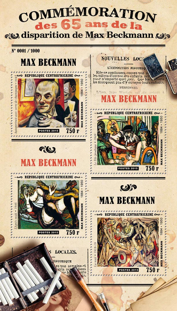 Max Beckmann - Issue of Central African republic postage stamps