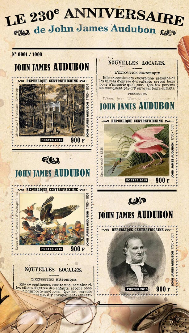 John James Audubon - Issue of Central African republic postage stamps