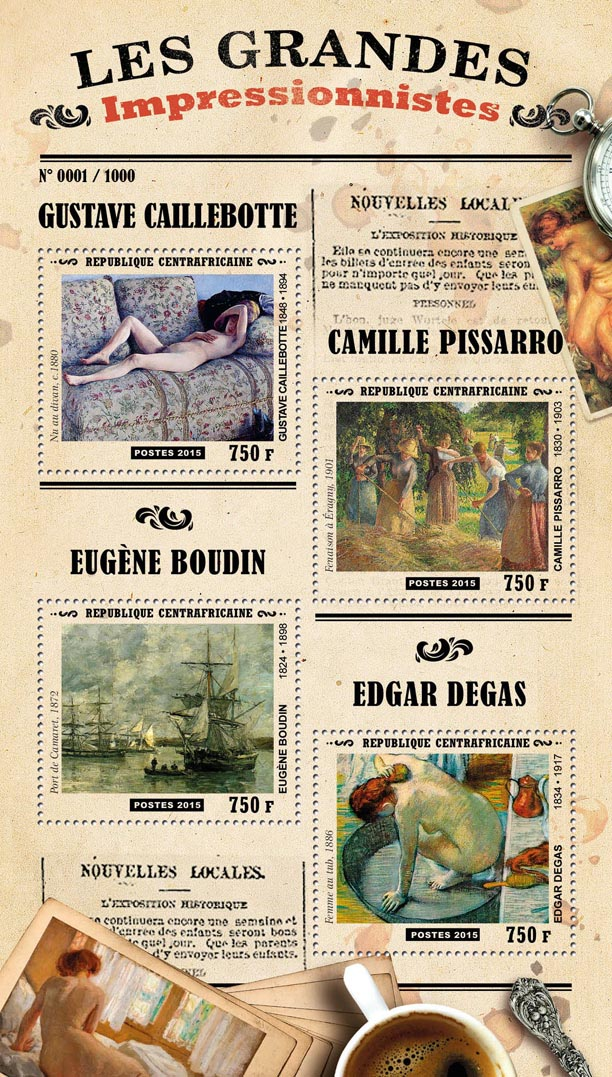 Impressionists - Issue of Central African republic postage stamps