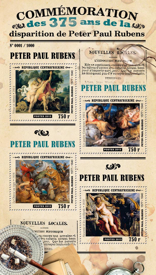 Peter Paul Rubens - Issue of Central African republic postage stamps