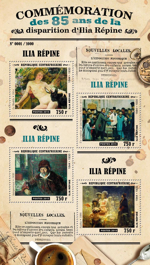 Ilia Repine - Issue of Central African republic postage stamps