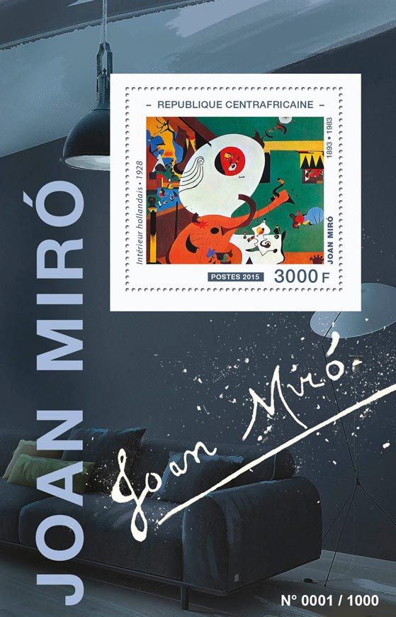 Joan Miró - Issue of Central African republic postage stamps