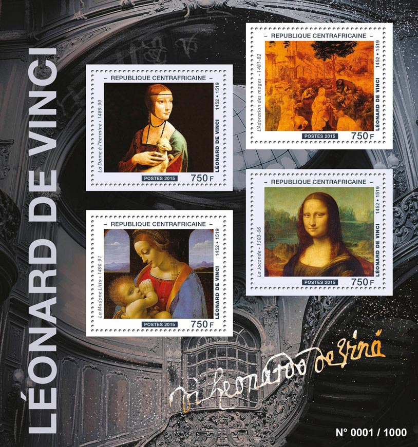 Leonardo De Vinci - Issue of Central African republic postage stamps