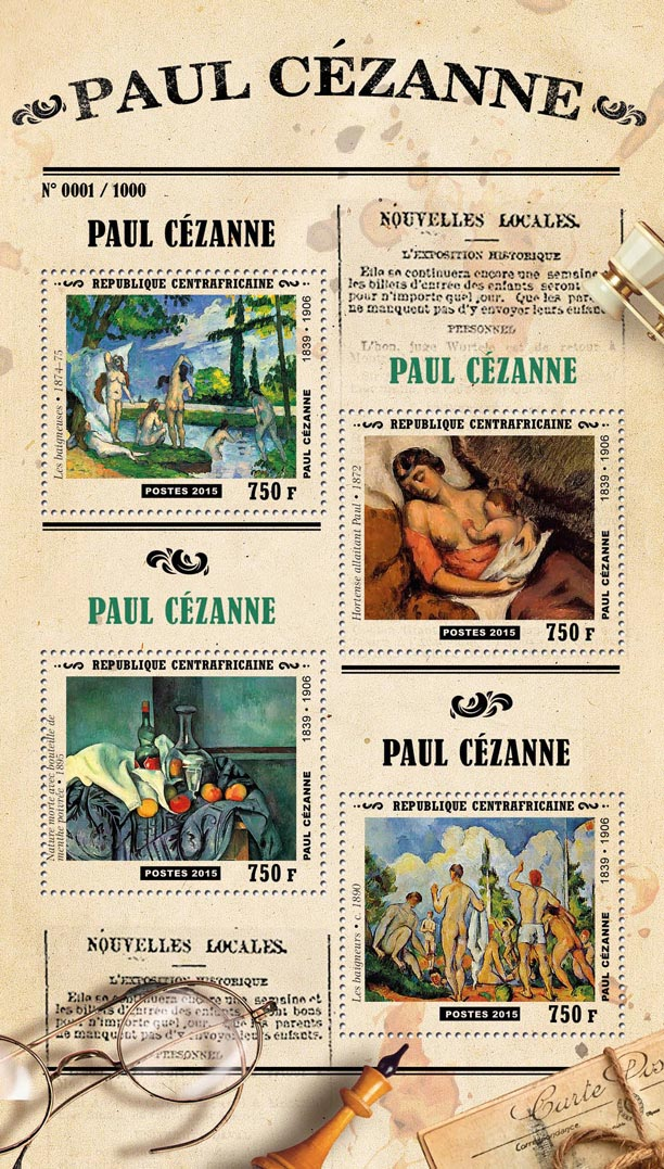 Paul Cezanne - Issue of Central African republic postage stamps