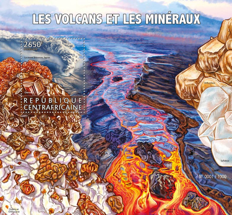 Volcanos and minerals - Issue of Central African republic postage stamps