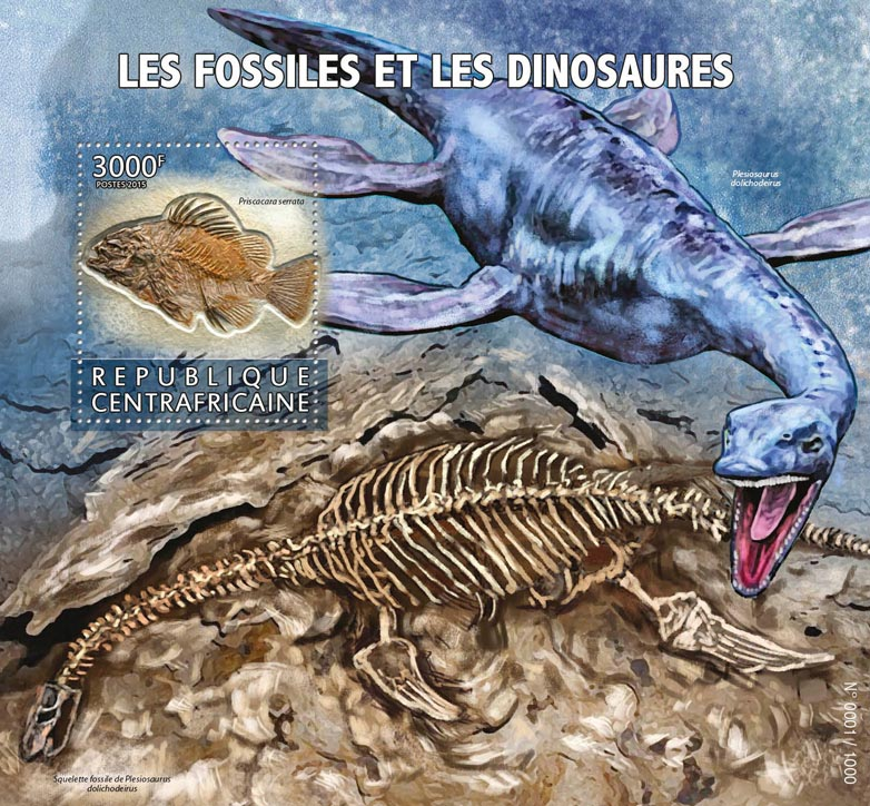 Fossils and dinosaurs - Issue of Central African republic postage stamps