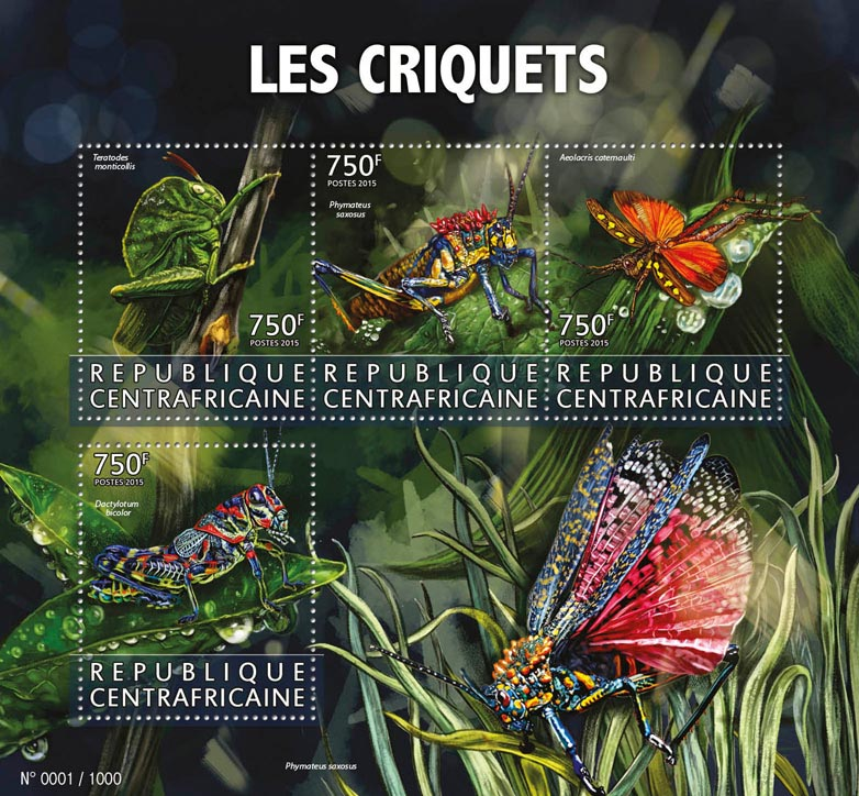Locusts  - Issue of Central African republic postage stamps
