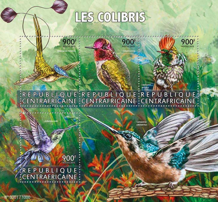Hummingbirds - Issue of Central African republic postage stamps
