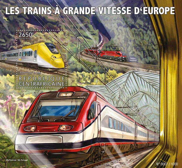 High speed trains - Issue of Central African republic postage stamps