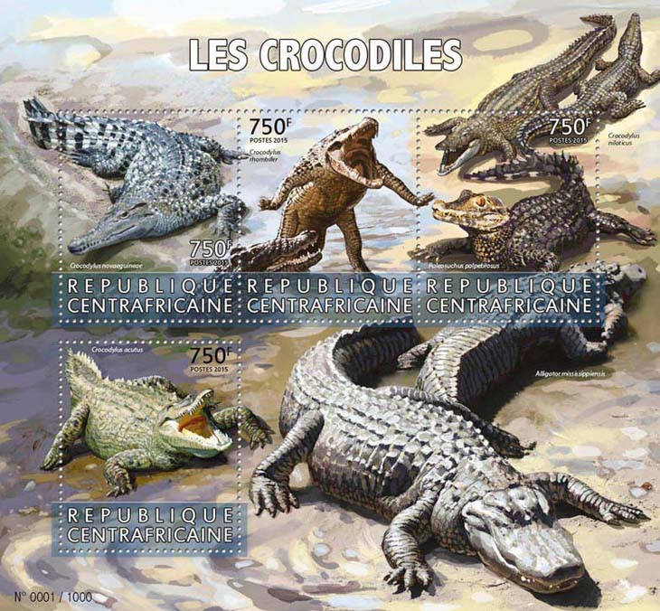 Crocodiles - Issue of Central African republic postage stamps