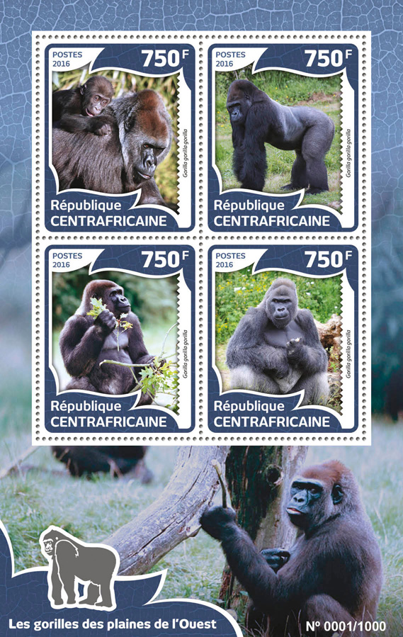 Gorillas - Issue of Central African republic postage stamps