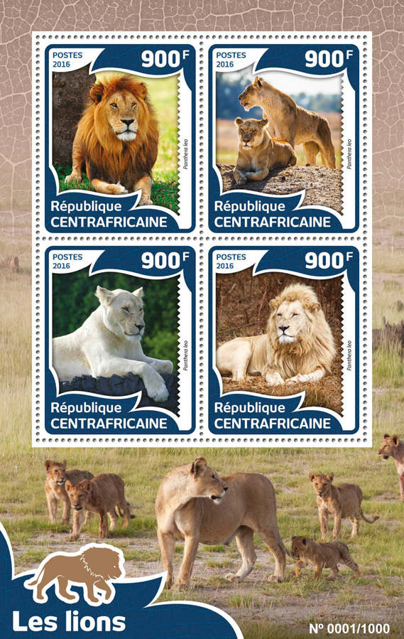Lions - Issue of Central African republic postage stamps
