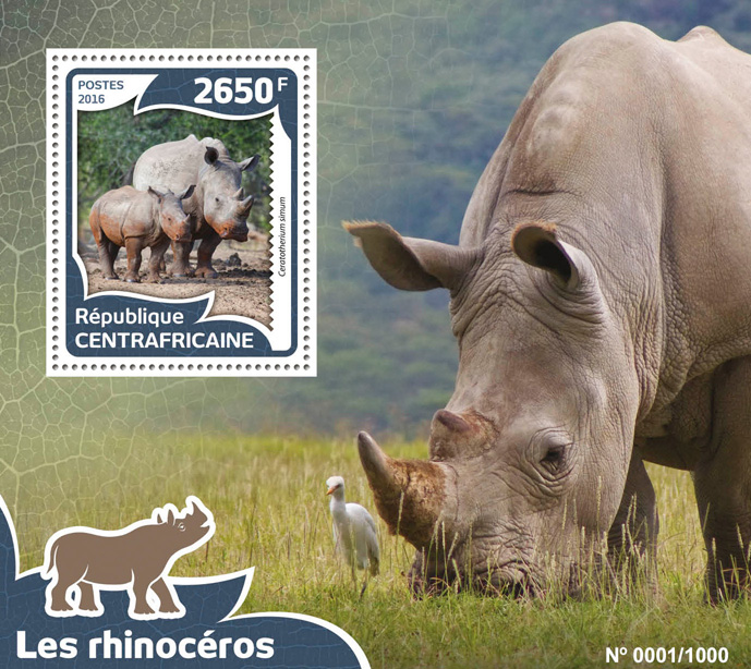 Rhinoceros - Issue of Central African republic postage stamps