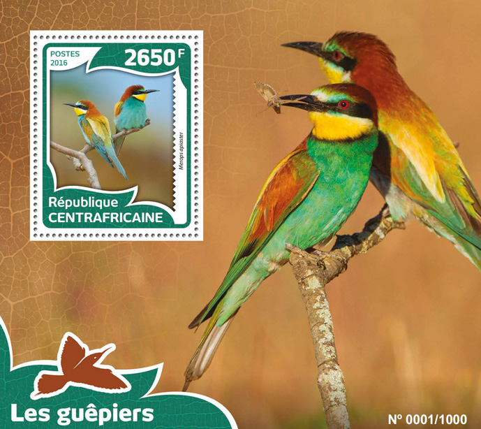 Bee-eaters - Issue of Central African republic postage stamps