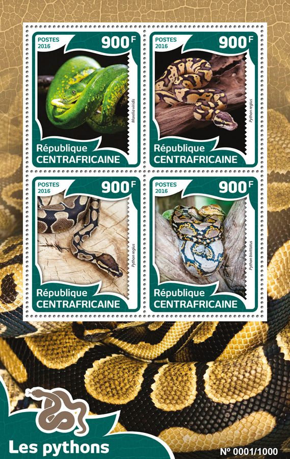 Pythons - Issue of Central African republic postage stamps