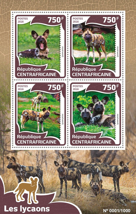 African wild dog - Issue of Central African republic postage stamps