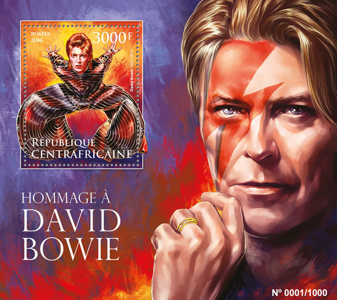 David Bowie - Issue of Central African republic postage stamps
