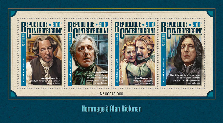 Alan Rickman - Issue of Central African republic postage stamps